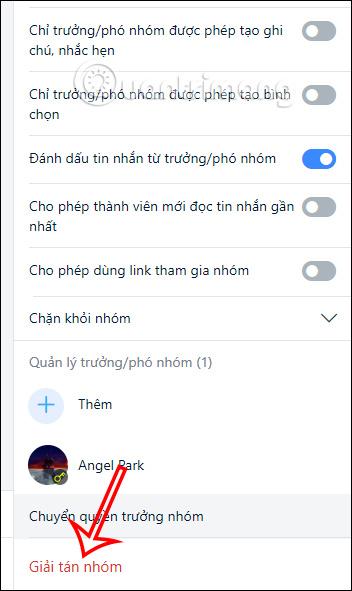 Xóa nhóm chat Zalo