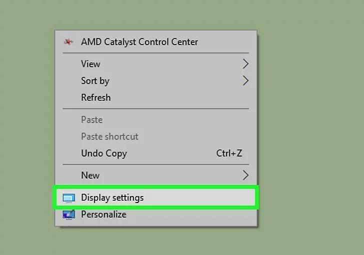 Chọn Display settings (Cài đặt trình chiếu)