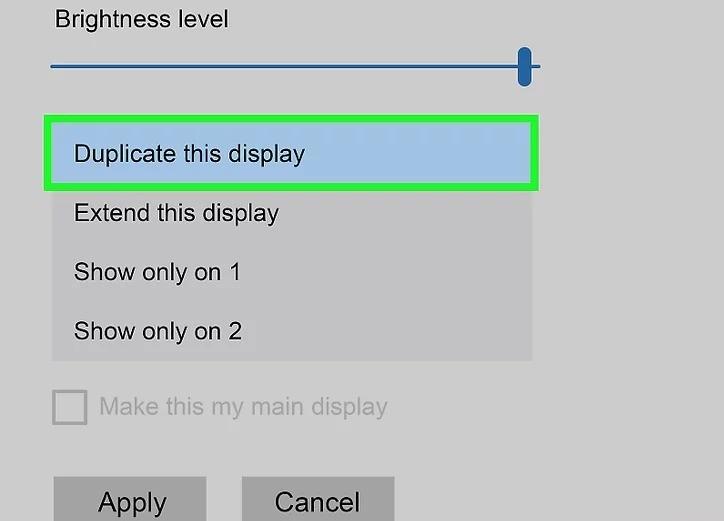 Chọn Duplicate this display (Nhân đôi trình chiếu).