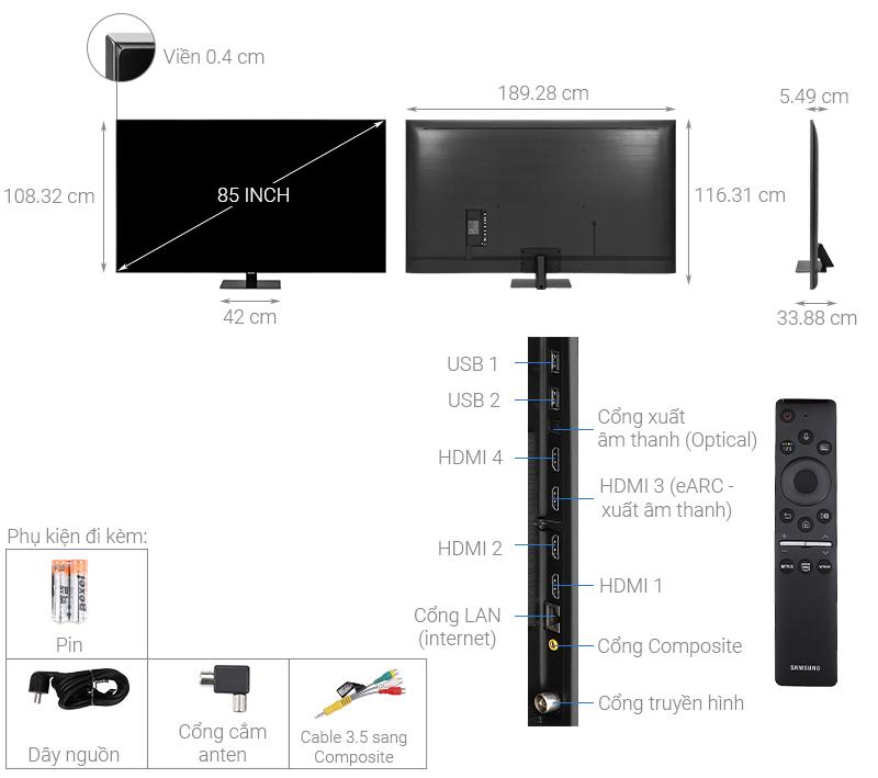Smart Tivi QLED Samsung 4K 85 inch QA85Q80T