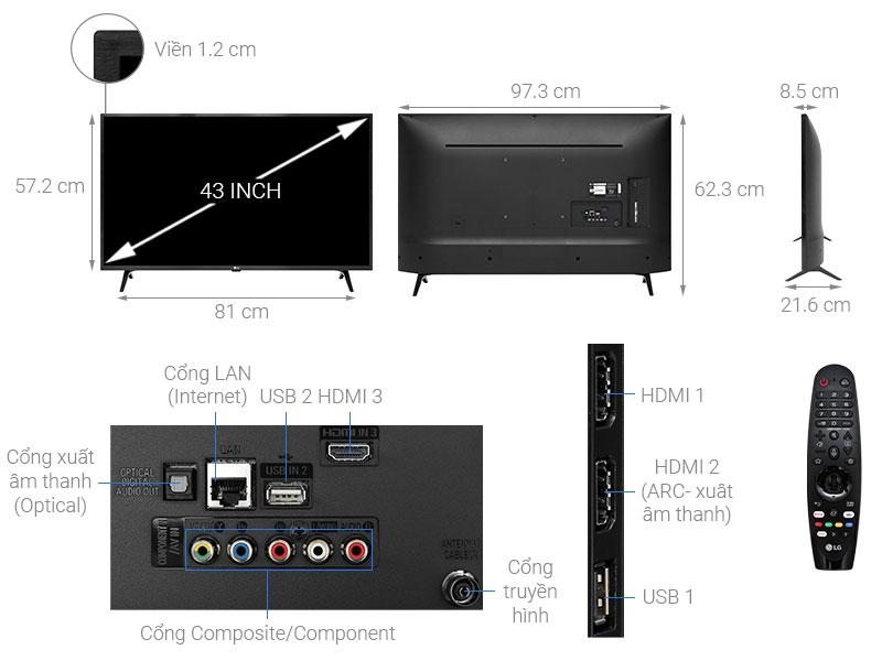Tivi LG 43 inch smart 4K 43UM7300PTA