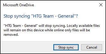 """Nhấp vào """"Stop Sync"""""""