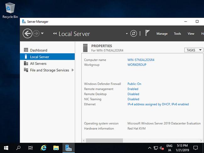 Quá trình cài đặt Windows Server đã hoàn tất