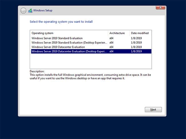 Chọn phiên bản Windows Server bạn muốn cài đặt