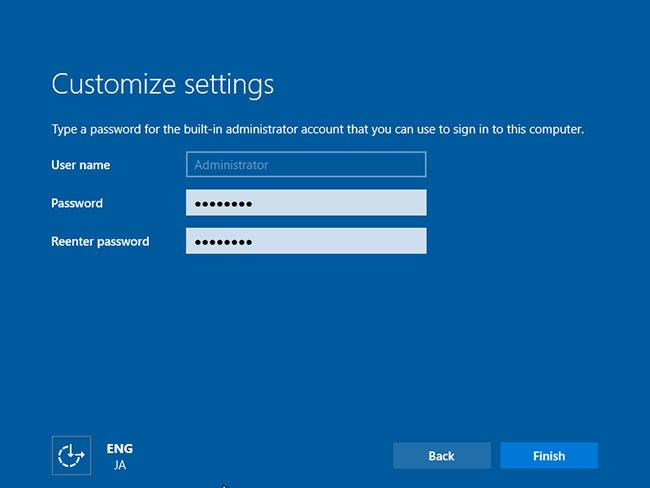 Đặt mật khẩu admin