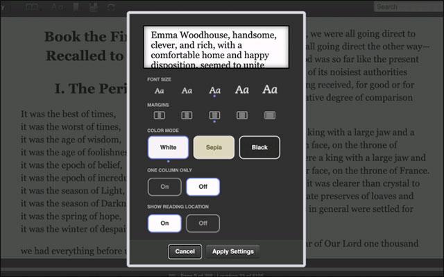 Tùy chỉnh giao diện đọc