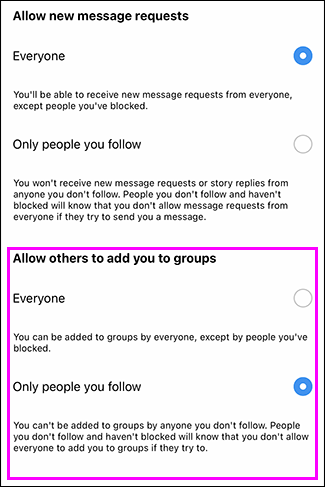 "Chọn tùy chọn ""Only people you follow"""