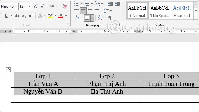 các cách căn giữa ô trong bảng trên word
