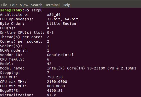 Xem thông tin CPU với lscpu