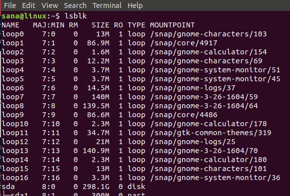 Xem thông tin thiết bị chặn với lsblk