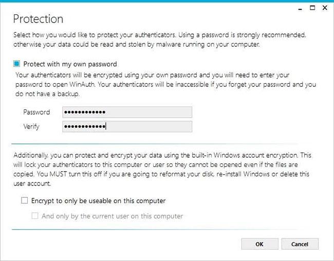 WinAuth sẽ mở cửa sổ Protection