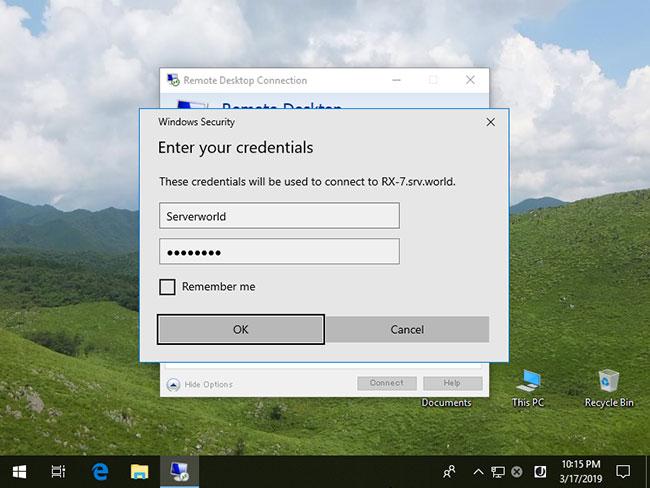 Nhập tên người dùng và mật khẩu