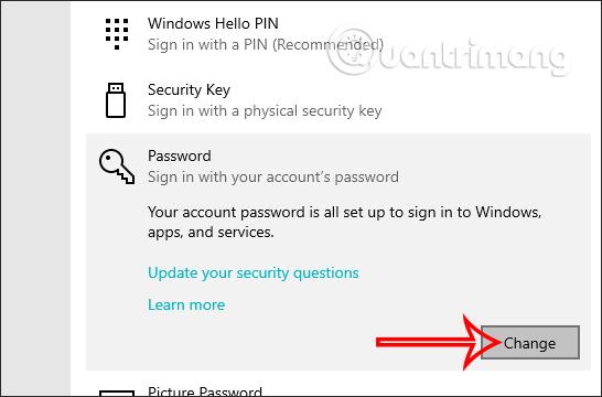 Chọn thay mật khẩu