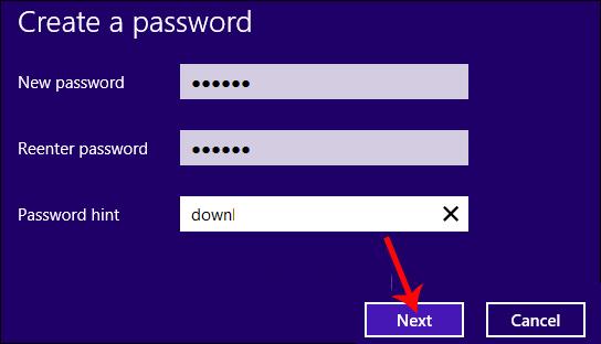 Nhập mật khẩu mới Windows 8