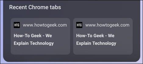 Hai tab gần đây