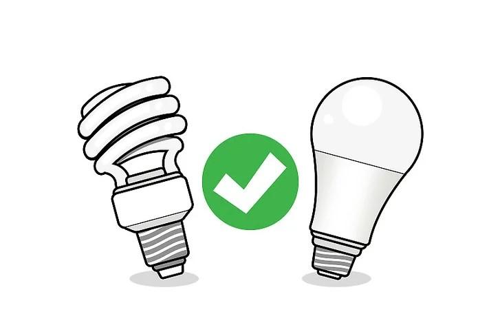 Sử dụng bóng đèn CFL và bóng đèn LED thay vì bóng đèn sợi đốt