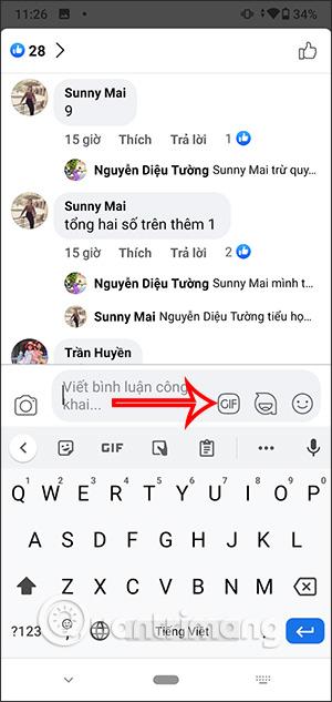 Cách bình luận bằng ảnh động Gif trên Facebook điện thoại, máy tính