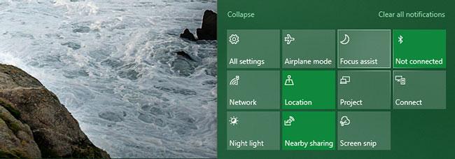 Tìm tile Focus Assist trong bảng điều khiển phía dưới của các shortcut