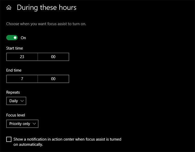 Lên lịch cho Focus Assist vào những giờ nhất định trong ngày