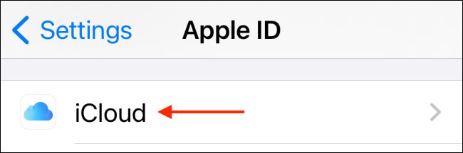 """Chọn tùy chọn """"iCloud"""""""