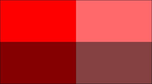 Hai màu đỏ bên trái bão hòa hơn hai màu đỏ bên phải.