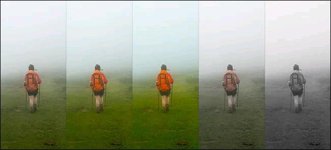 Từ trái sang phải: Hình ảnh gốc, Saturation +50, Saturation +100, Saturation -50, và Saturation -100. Hãy chú ý màu cam của ba lô thay đổi như thế nào