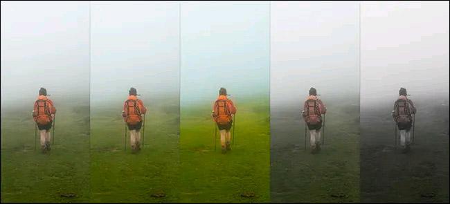 Từ trái sang phải: Hình ảnh gốc, Vibrance +50, Vibrance +100, Vibrance -50, và Vibrance -100. Một lần nữa, hãy xem màu cam của ba lô thay đổi như thế nào