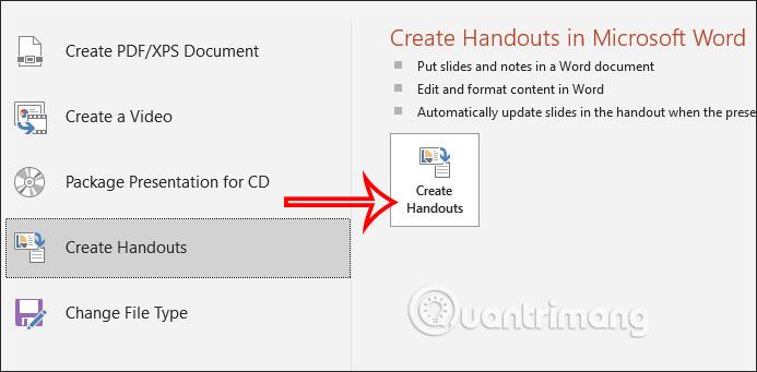Nhấn Create Handouts
