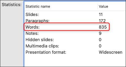 Số từ trong PowerPoint trên Mac