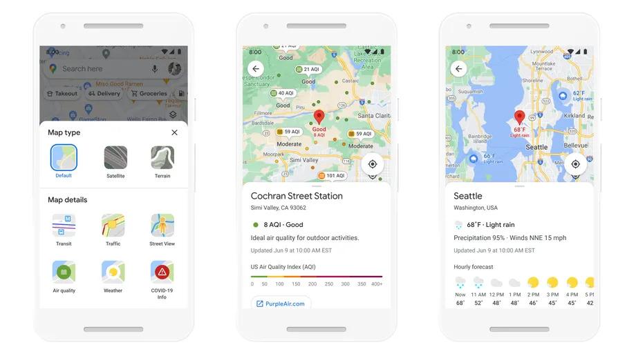 Google Maps cung cấp thông tin thời tiết, chất lượng không khí.