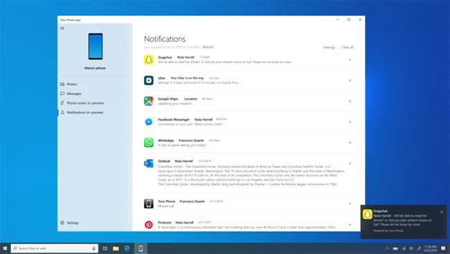 Your Phone sẽ nhận được thông báo ứng dụng của điện thoại ngay trên màn hình laptop