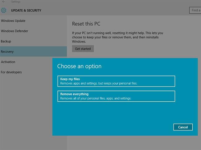 Sử dụng tùy chọn Reset, Recovery để cài đặt sạch Windows 10