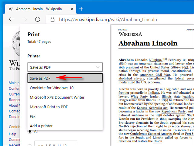 """Chọn tùy chọn """"Save as PDF"""""""