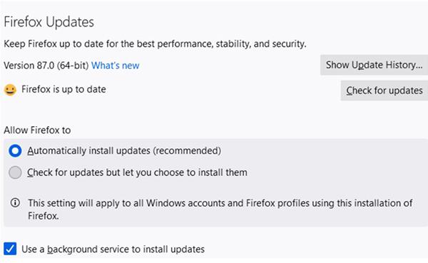 Chọn tự động cập nhật hoặc cập nhật thủ công