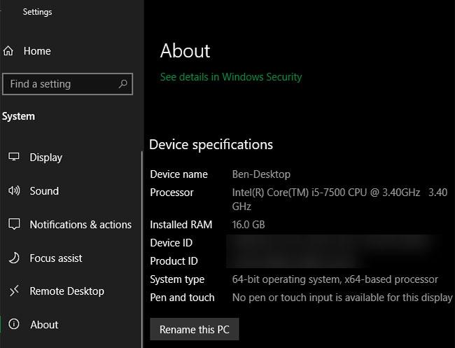 Xem lượng RAM trong Windows 10