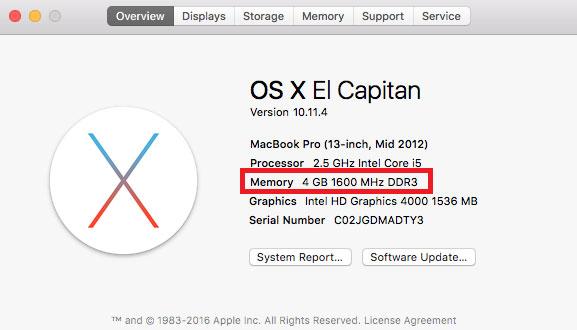 Xem lượng RAM trong macOS