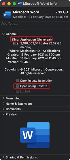 """Tích vào ô vuông bên cạnh mục """"Open using Rosetta"""""""