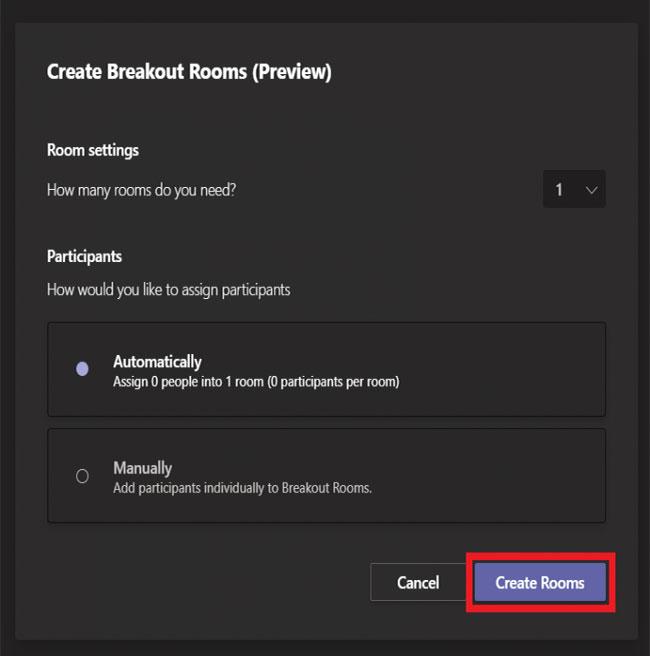 Chọn số lượng breakout room bạn muốn tạo và cách người tham gia sẽ được chỉ định