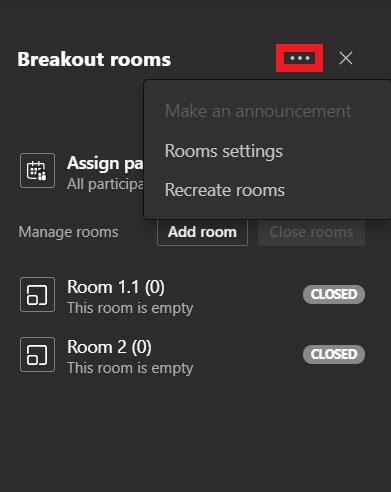 Tùy chọn Recreate rooms