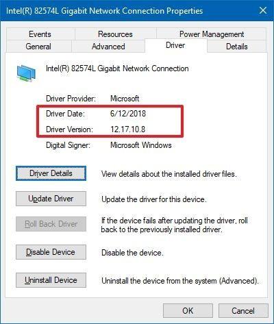 """Xác nhận thông tin """"Driver Date"""" và """"Driver Version"""""""