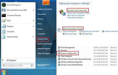 Xem chương trình khởi động được liệt kê bên trong System Configuration