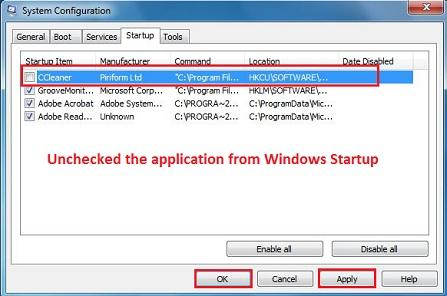 Bỏ load một chương trình cụ thể tại thời điểm khởi động