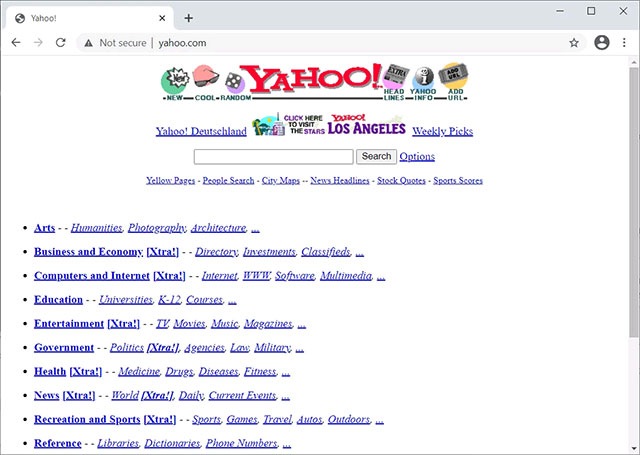 Yahoo.com năm 1996