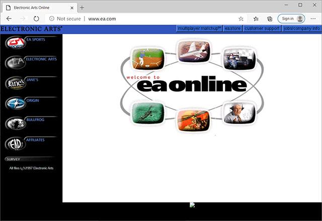 Website EA năm 1997