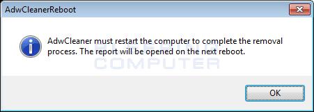 Nhấp vào nút OK để AdwCleaner khởi động lại máy tính