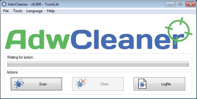 Nhấp vào nút Scan trong AdwCleaner