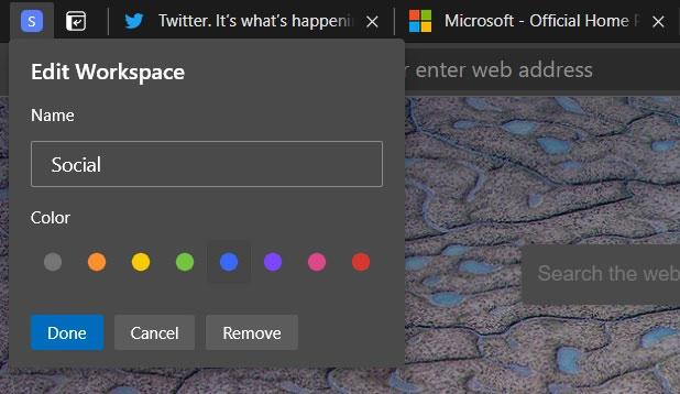 Có thể sắp xếp các tab liên quan theo tên có nghĩa và màu sắc
