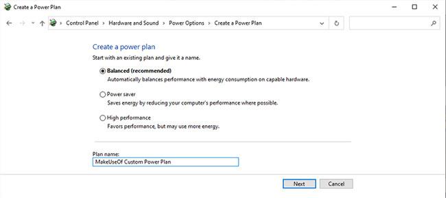 Chọn Create a power plan từ menu Control Panel Power Options