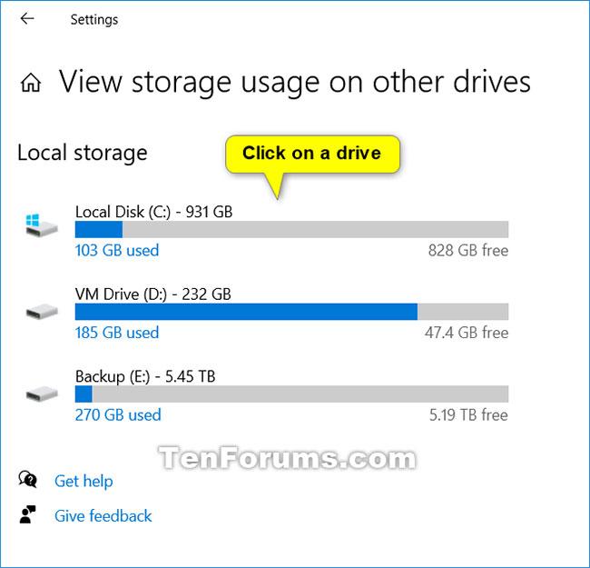 Nhấn vào ổ bạn muốn xem mức sử dụng bộ nhớ