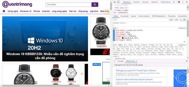 Mở cửa sổ công cụ dành cho nhà phát triển